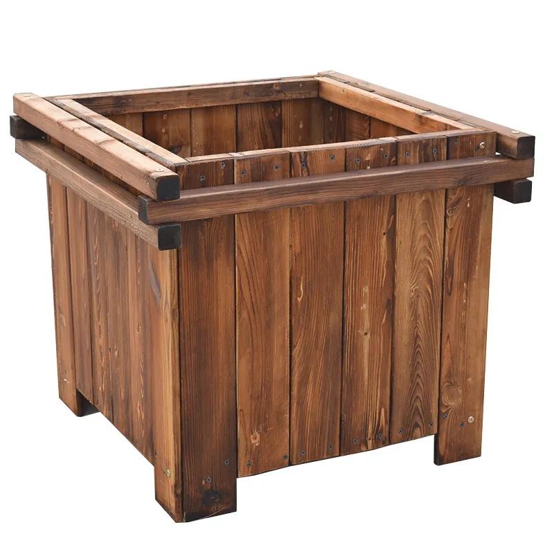 木花箱,碳化木花箱,防腐木花箱,西安木制花箱厂家