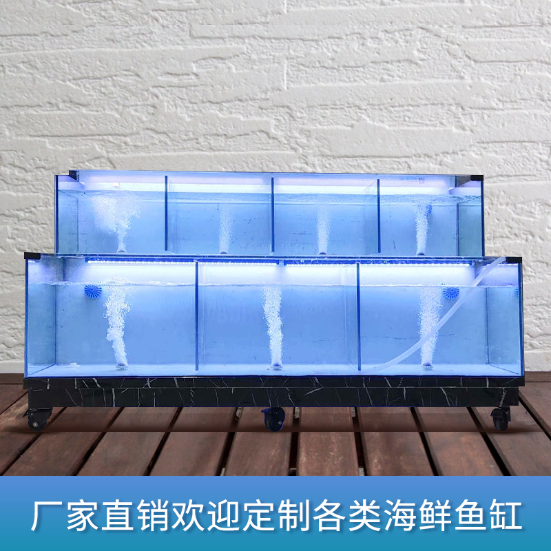 西安双层移动海鲜鱼缸商用饭店专用定做超市酒店鱼缸海鲜池小型组合缸