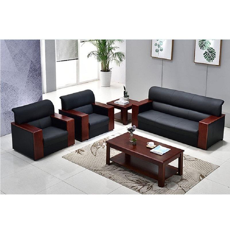 西安厂家直销办公沙发实木油漆平扶手皮沙发茶几组合单三人位量大批发