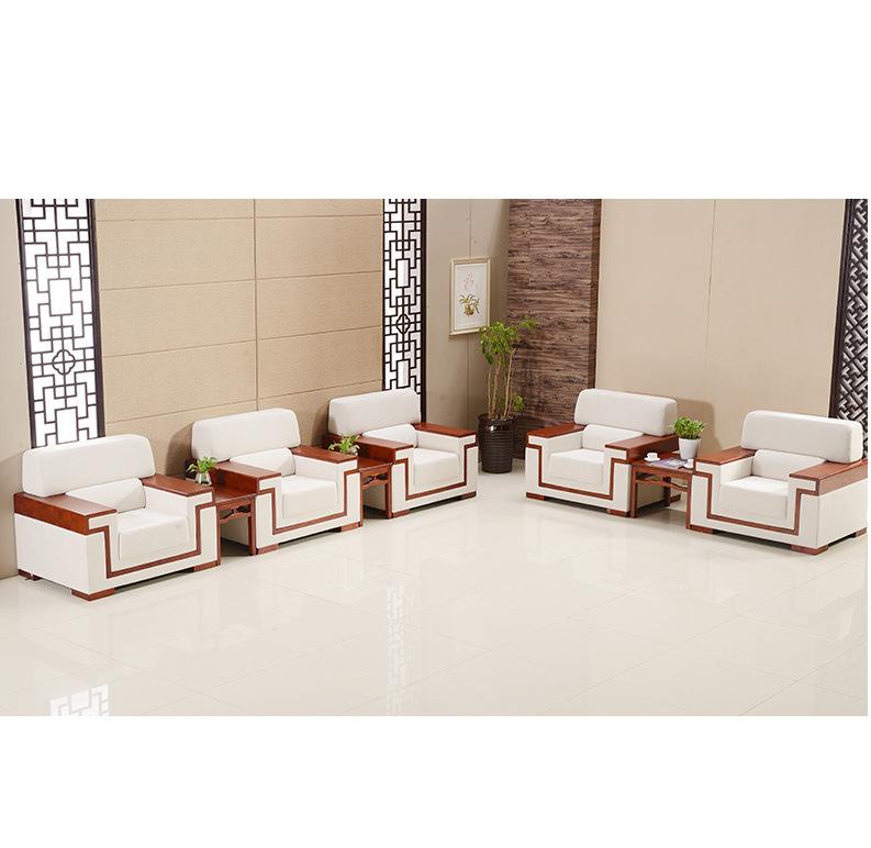 西安广州龙江厂家直销布艺接待沙发 商务贵宾单人位平木扶手会议室茶几
