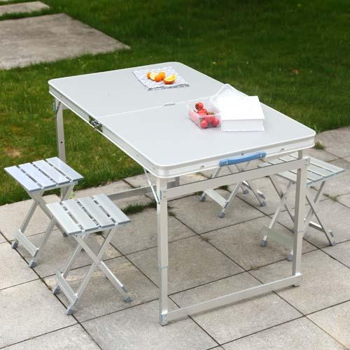 车载野餐桌椅 铝合金连体桌椅 户外折叠桌椅