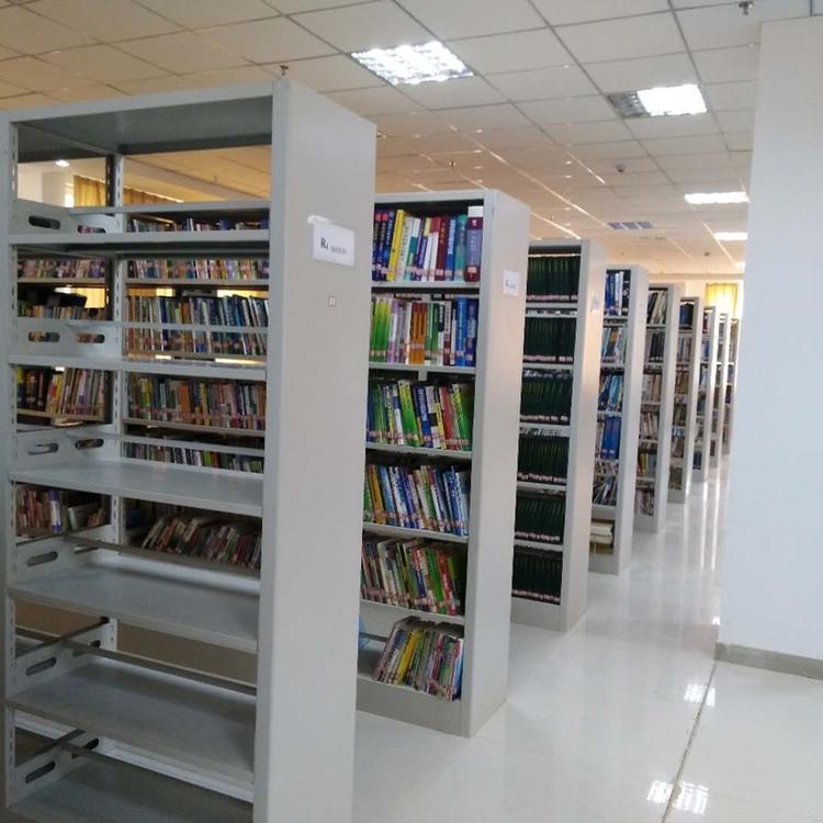 贵州双面钢制书架规格学校书架灰白色(钢制)单面6层主架200*100*30cm