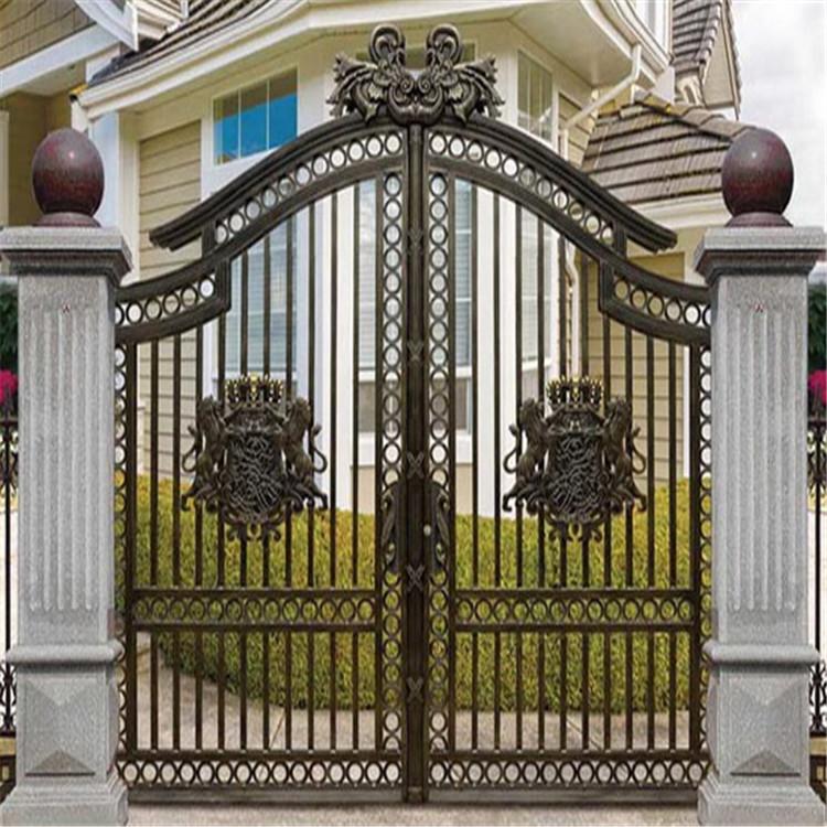 长期出售雕花铁艺大门 别墅庭院大门 双开铁艺大门