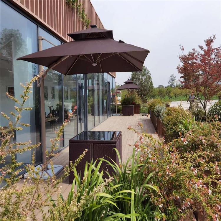 陕西大型景观户外庭院遮阳伞 景区酒店工程定制伞 户外桌椅组合厂家