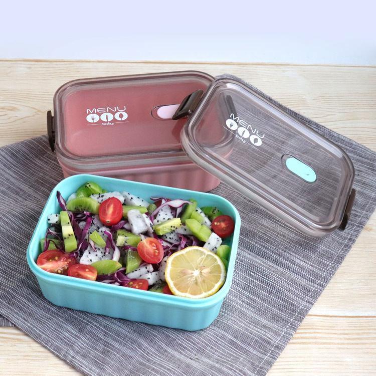 【梵施】新品简约透明塑料不锈钢饭盒高档时尚户外韩式便当盒午餐盒 F962