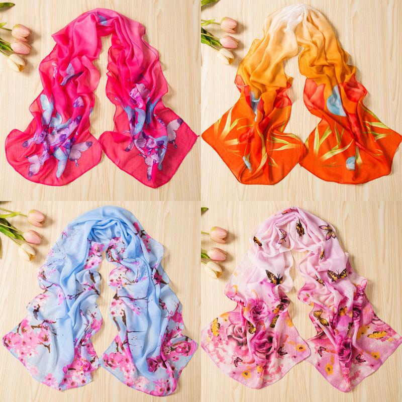 春季妇女节礼品小丝巾女送礼雪纺纱巾薄新款时尚印花围巾