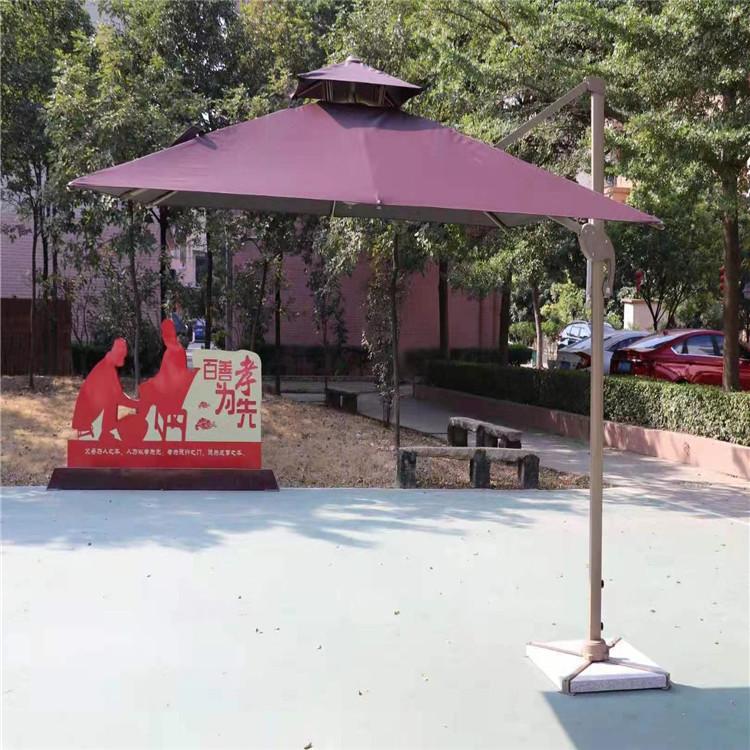 户外摆摊广告太阳伞 折叠手摇卡其色遮阳伞 折叠庭院伞
