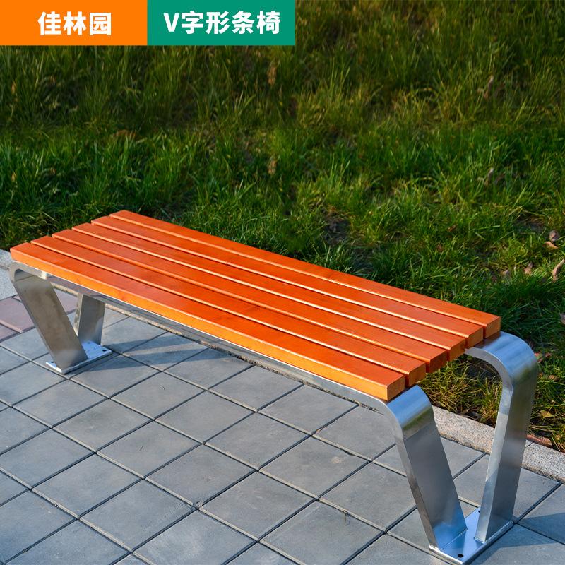 公园椅户外不锈钢坐凳广场休息椅公共场所等候椅可定制靠背椅