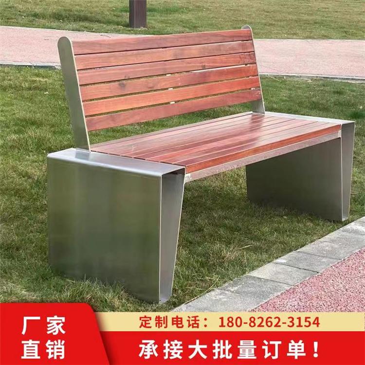 不锈钢腿座椅 成品不锈钢+木条坐凳 户外金属平凳加工定制